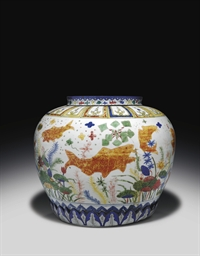 A RARE LARGE WUCAI FISH JAR