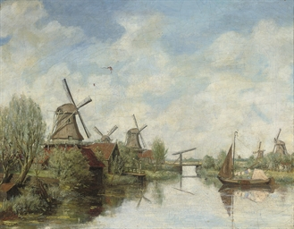 Windmills on a Dutch waterway