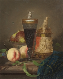 An ornamental urn, a goblet of