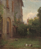 Rabbits in the garden at dawn