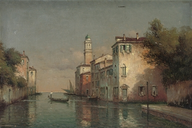 A gondola on a Venetian backwa