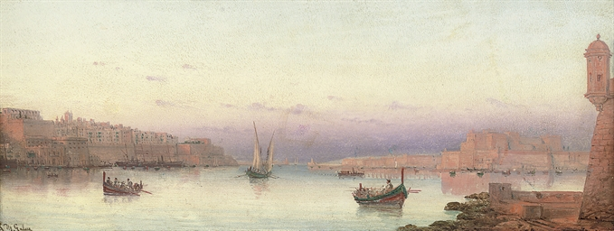 The harbour of Valetta from Ri