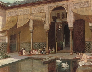 Feeding swans in the harem