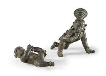 Two bronze figures of Krishna