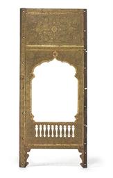A gold damascened iron panel