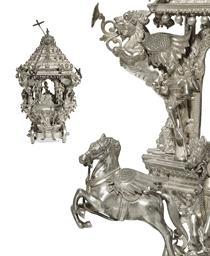A rare silver model of a chari