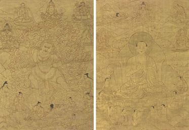 A thangka of a lama and a than