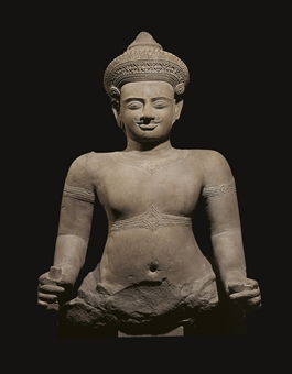 A monumental gray sandstone figure of a Dvarapala
