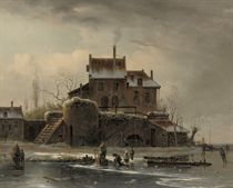 A winter's day on the ice near a mansion