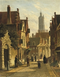 Figures in a sunlit street