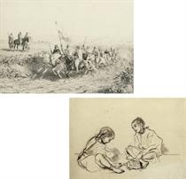 L'escorte du Caid; the Arabian warriors