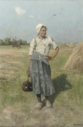 Young girl by the haystacks