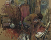Seated nude in the artist's studio