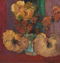A still life with flowers in a ginger jar