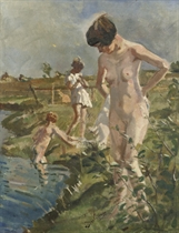 Bathing in the river 'Aa'