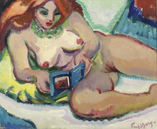 Reclining nude, reading