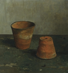 Two flowerpots (recto); A sket