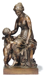A FRENCH BRONZE GROUP OF VENUS