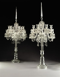 A PAIR OF ENGLISH CUT GLASS TW