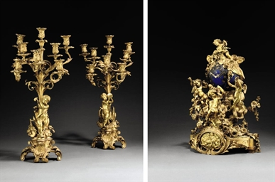 A NAPOLEON III ORMOLU AND BLUE