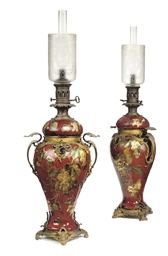 A PAIR OF ORMOLU-MOUNTED RUBY
