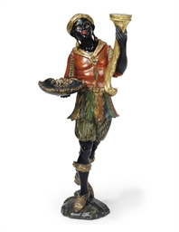 A VENETIAN PAINTED WOOD BLACKA
