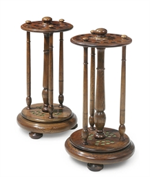 A PAIR OF VICTORIAN OAK REVOLV