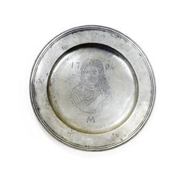 A WILLIAM & MARY PEWTER CHARGE