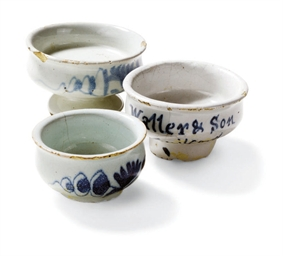 THREE ENGLISH DELFT OINTMENT P
