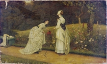 Elegant ladies tending to the garden