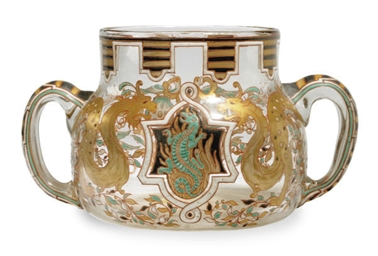 A FRENCH ENAMELED AND GILT TWO