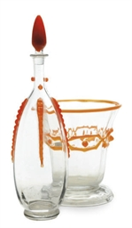 A FRENCH GLASS DECANTER AND ST