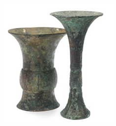 TWO CHINESE ARCHAIC BRONZE RIT