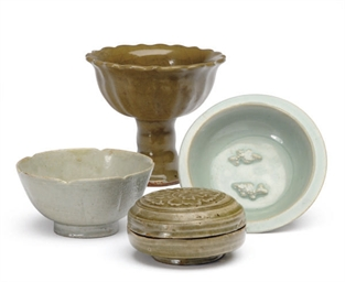 A GROUP OF FOUR CELADON-GLAZED