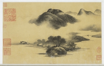 A CHINESE SCROLL PAINTING OF A MOUNTAINOUS LANDSCAPE,