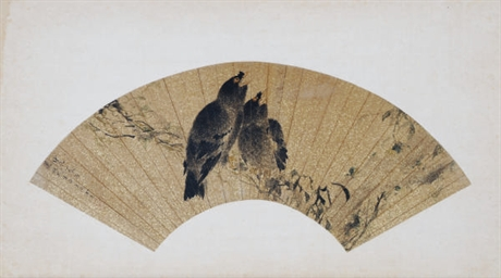 THREE CHINESE FANLEAF PAINTING