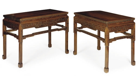 A PAIR OF CHINESE HARDWOOD WAI