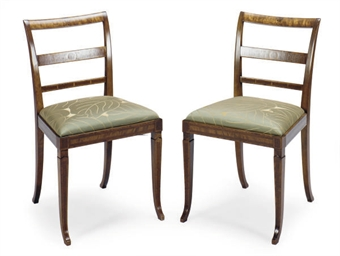 A PAIR OF INLAID FRUITWOOD SID