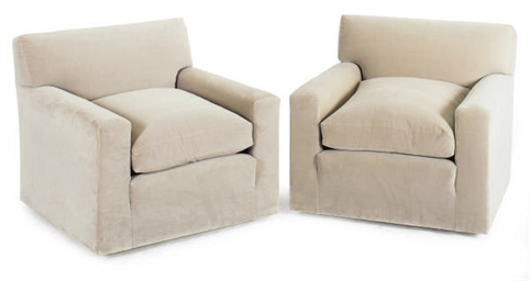 A PAIR OF VELVET UPHOLSTERED C