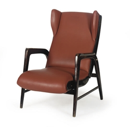AN ITALIAN WALNUT ARMCHAIR,