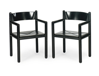 A PAIR OF EBONIZED ARMCHAIRS,