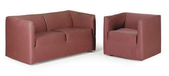 An Upholstered 39 Metropolitan 39 Loveseat And Pair Of Club Chairs Designed By Brian Kane For