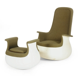A 'CULBUTO' CHAIR AND OTTOMAN,