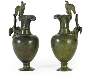 A PAIR OF VERDIGRIS PATINATED