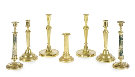 THREE PAIRS OF CANDLESTICKS,