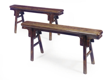 A PAIR OF ASIAN HARDWOOD BENCH
