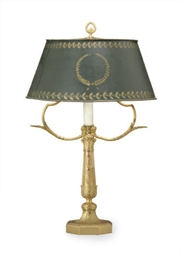 A FRENCH ORMOLU BUILLOTTE LAMP