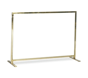 A BRASS AND GLASS FIRESCREEN,