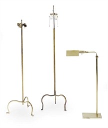 TWO GILT-METAL FLOOR LAMPS,