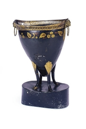 A DUTCH BLACK AND GILT-DECORAT